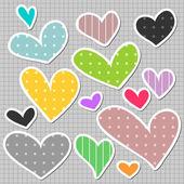 En uppsättning vackra hjärtan — Stockvektor