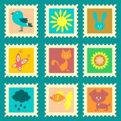 A set of cute stamps — Stock Vector