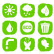 Green ecological icons set — ストックベクタ
