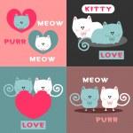 Cute romantic card design set with pretty cats — Stock Vector #12083635