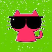 Cute funny kitten in sunglasses — Stock Vector