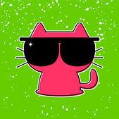 Cute funny kitten in sunglasses — Stock Vector