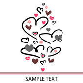 Beautiful romantic postcard with hearts — Stock Vector