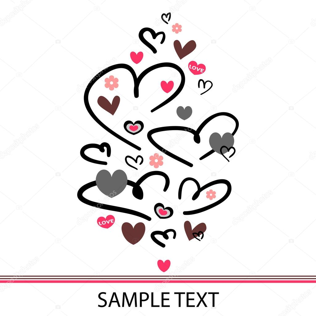 Beautiful romantic postcard with hearts — Stock Vector #12083612
