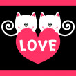 Stock Vector: Kitty love romantic card