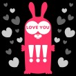 Funny bunny in love card — Stock Vector #12123416
