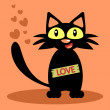 Funny black cat love card — Stock Vector