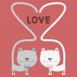 Stock Vector: Cat love romantic card