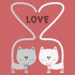 Cat love romantic card — Stock Vector