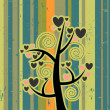 Retro vector illustration love tree — Stock Vector