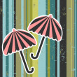 Stock Vector: Retro vector illustration umbrellas on stripey background