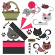 Cute little kittens set — Stock Vector