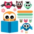 Cute owls set school theme — Stock Vector #12123459