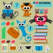 Scrapbook set school theme funny animals and elements — Vector de stock