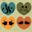 Retro hearts with animals set — Stock Vector