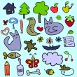 Set of doodle childish elements — Stock Vector