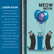 Vector card template three funny cats with balloons — Stock Vector