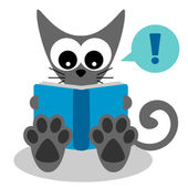 Cute kitty reading a book — Stock Vector