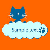 Blue kitty with place for your text — Stock Vector