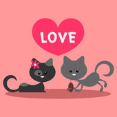 Two little cats in love romantic card — Stock Vector