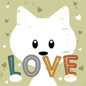 Cute kitty holding love message retro background — Vector de stock