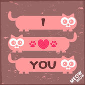 Romantic illustration with three cute cats — Stock Vector