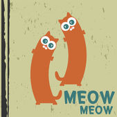 Two cute cats vector illustration — Stock Vector
