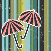Retro vector illustration umbrellas on stripey background — Stock Vector