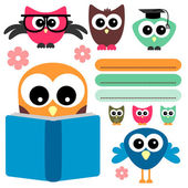 Cute owls set school theme — Stock Vector