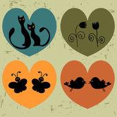 ретро сердца с набором животных — Cтоковый вектор