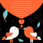 Vector card template with cute bird couple — Stock Vector
