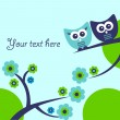 Cute vector card with two funny owls — Imagens vectoriais em stock