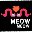 Love card with two funny cats - Imagen vectorial