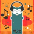 Retro vector card with kitty listening to music in headphones — Imagen vectorial