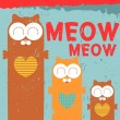 Vector card with three cute cats - Imagen vectorial
