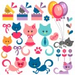 Colorful set of cute baby kittens — Stock Vector