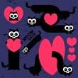 Vector set of funny cats with hearts — Stock Vector #12208434