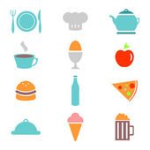 Colorful food icons set — Stock Vector