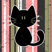 Vector card with cute kitty — Stock Vector