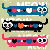 Vector card with funny cats and hearts — Stock Vector