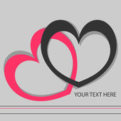 Romantic vector card with two hearts — Stock Vector