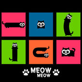 Colorful vector set of funny cats — Stock Vector