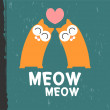 Cute kittens in love vector card — Stock vektor