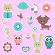 Stock Vector: Babyish cute stickers set