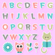 Royalty-Free Stock Vector Image: Cute childish stickers set with alphabet