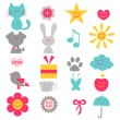 Set of cute childish elements — Stock Vector #12382527
