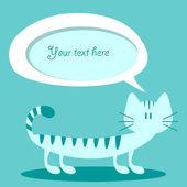 Tarjeta vector con burbuja graciosa gato y discurso — Vector de stock
