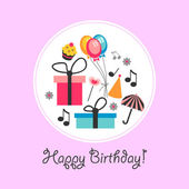 Cute birthday card with various objects — Stock Vector