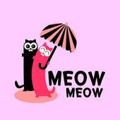 Söta par av katter med paraply — Stockvektor