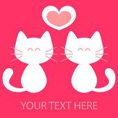 Cute kittens in love vector card — Stock Vector